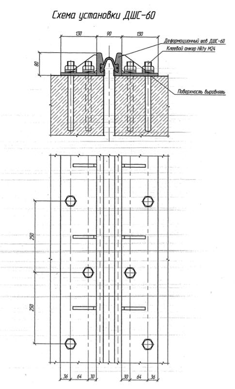 Конструктивная схема деформационных швов ДШС-60 с прикреплением к сопрягаемым элементам с помощью химических анкеров «Hilti»