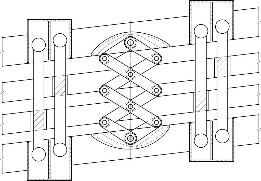 Схема 1. ДШСк-240/15 – деформационный шов для косого пересечения с углом 15°.