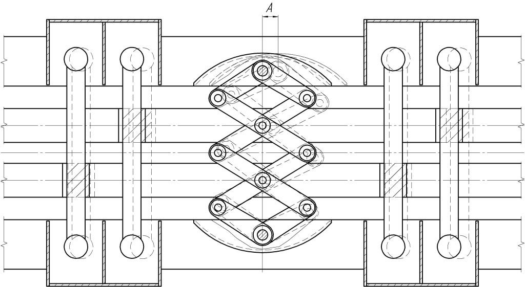 Схема 2. ДШСвп-240-60 – деформационный шов всесторонне подвижный на поперечные перемещения 60 мм. На схеме: «А» - величина поперечных перемещений