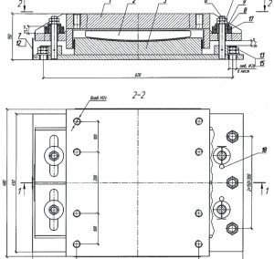 Схема опорных частей на отрицательные нагрузки